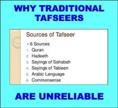 Why traditional tafsirs are unreliable picture taken from Fareed Firani